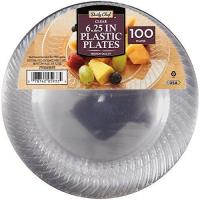 Quality Daily Chef 6.25-Inch Plastic Plates, Clear, 100 Count for sale
