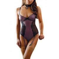 China New Arrivals Black Sheer Lace Mesh Teddy with Garters on sale