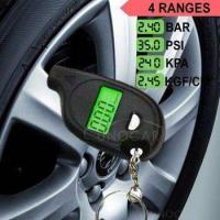 Quality keychain LCD tire pressure gauge with led light Portable Mini tyre guage for sale