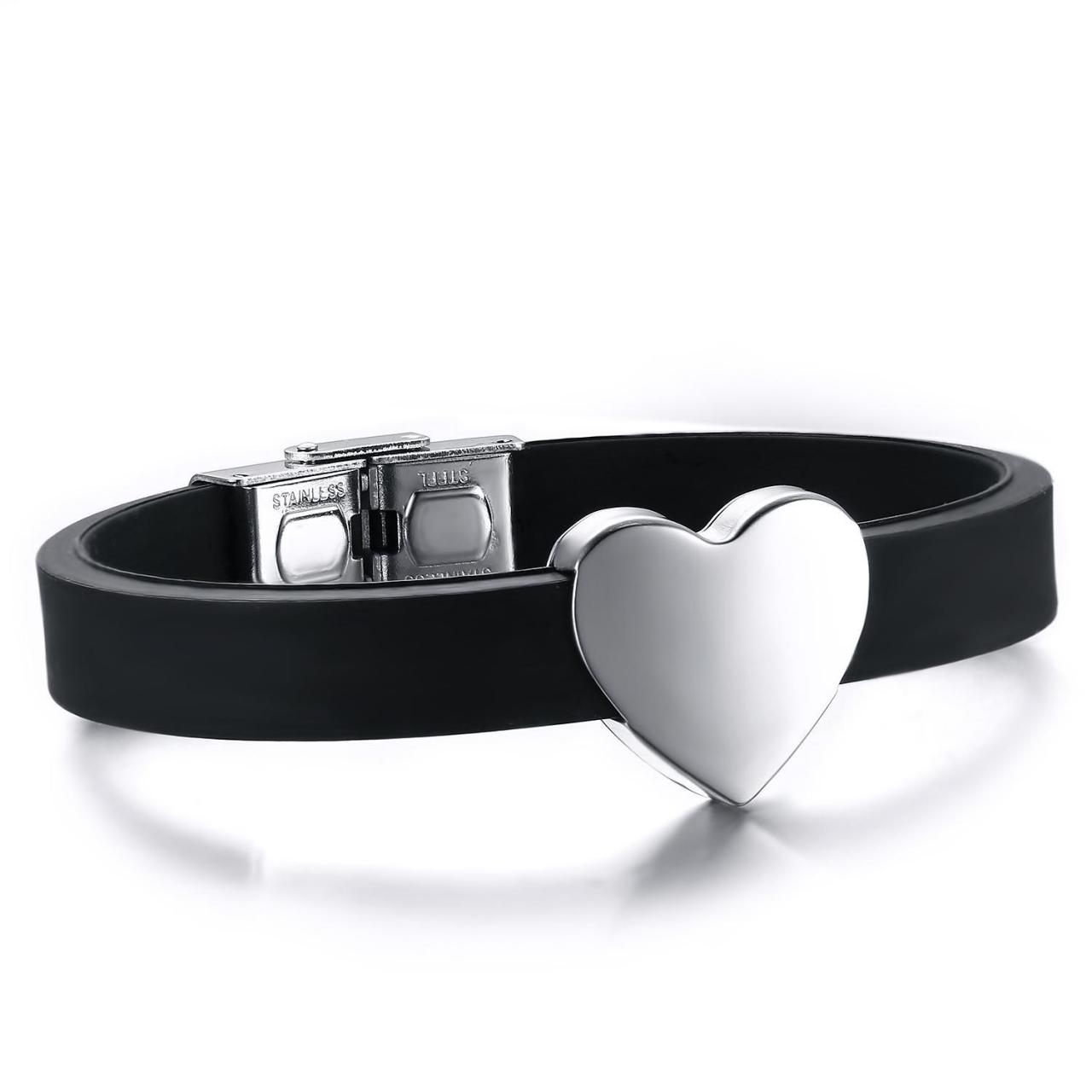 Quality Stainless Steel Silicone Rubber Bracelets Wholesale Price Bracelets With Heart M for sale