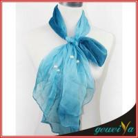 Quality Pearl Accessories Chiffon Bule Scarf for sale