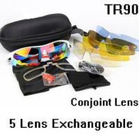 China OK0093 White Red Outdoor Sports Tactical Cycling Glasses 5 Polycarbonate Lenses Sunglasses Goggles on sale