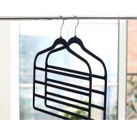 China Products name: 4-Bar Black Pants Hangers, Velvet Trousers Hanger on sale