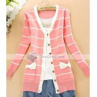 Clothing, Shoes & Accessories Qooeen Cotton Slim Stripe Bowknot Long Sleeve Women Cardigan