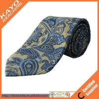 Quality fashion blue color printed paisley tie for sale