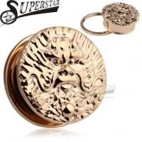 Quality Chinese Zodiac Dragon Logo Casting Rose Gold Stainless Steel Ear Plug for sale