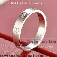 Quality Faux Cartier Love Wedding Ring 18K White Gold With Diamonds for sale