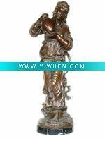 China Artificial Crafts(970) Bronze beauty standing girl carrying pot Statue on sale