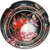 China Rock N Roll Red Skull Glow In The Dark Ashtray AT-0131-GL on sale
