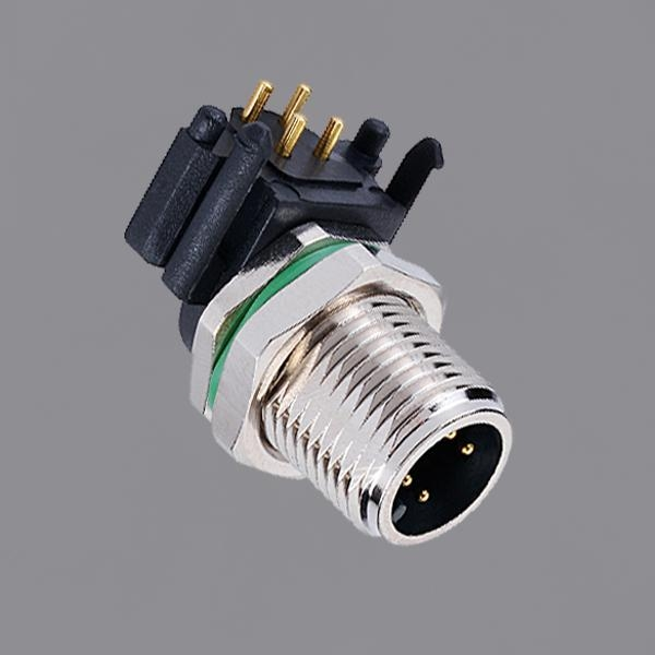 China M12 Circular Connector Male Right Angle Front Mounting Waterproof Sealed Plug